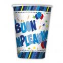 10 Bicchieri 200 cc Buon Compleanno celeste