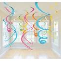 Swirl Deco plastica multicolor 56 cm 12 pz