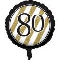 "palloncino 18"" mylar Black & Gold 80 anni"