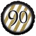 "palloncino 18"" mylar Black & Gold 90 anni"