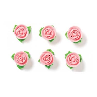 Rosa con foglie azzurro in rosa