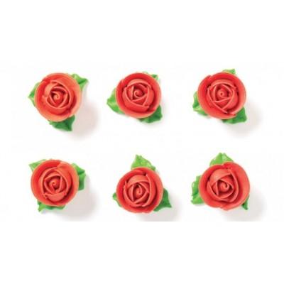 Rosa rossa  con foglie