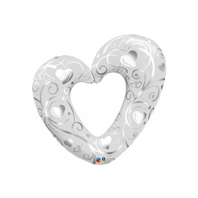 Palloncino Jumbo mylar Silver Heart