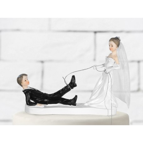 Cake topper novelli sposi con corda
