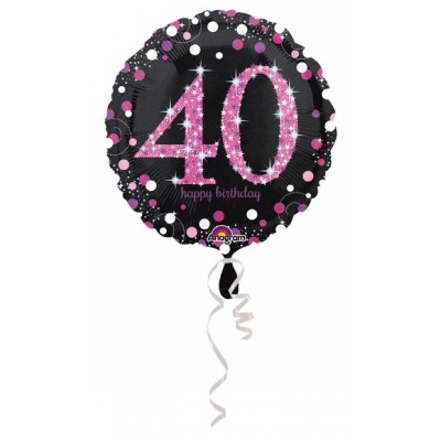 "Palloncino mylar 17"" Birthday 40 pink"