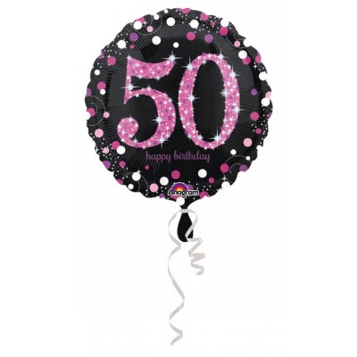 "Palloncino mylar 17"" Birthday 50 pink"