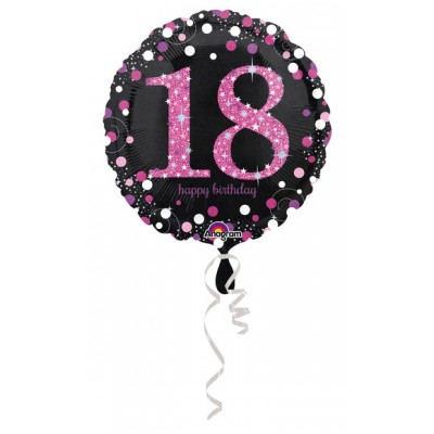 "Palloncino mylar 17"" Birthday  18 pink"