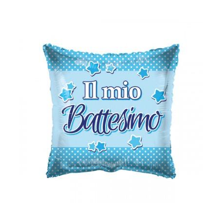 "Palloncino mylar 18"" Battesimo celeste quadrato"