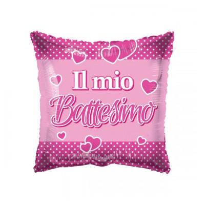 "Palloncino mylar 18"" Battesimo rosa quadrato"