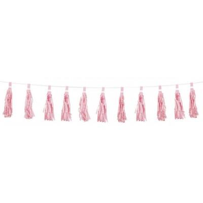 Festone con frange rosa pastello